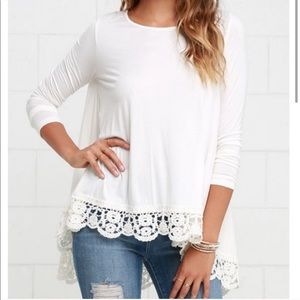 Cute crotchet trim ivory tunic
